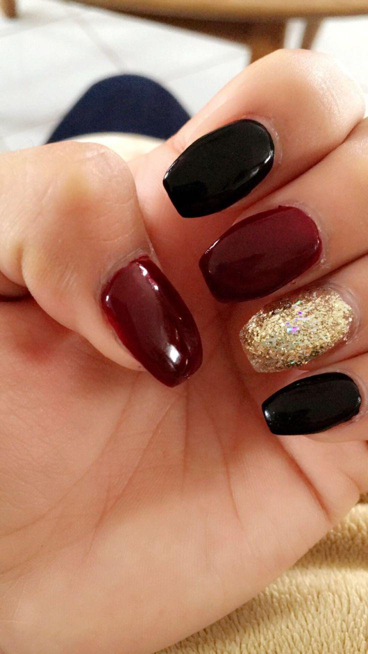 Burgundy Black Gold Nails Maroon Nails Black Gold Nails