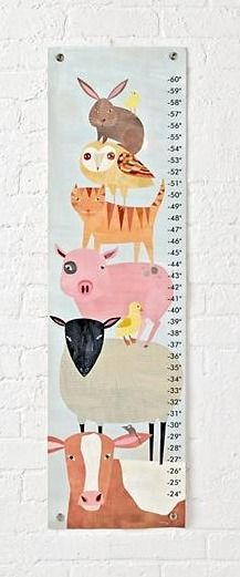 """Adorned with delightful critters, this barnyard animal growth chart will add a touch of farmhouse style faster than you can say """"EIEIO."""""""