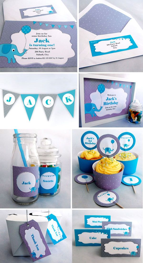 Blue Elephant Birthday Party - Printables available as an invite pack or complete party pack. Visit www.missshinedesign.co.nz for more information.