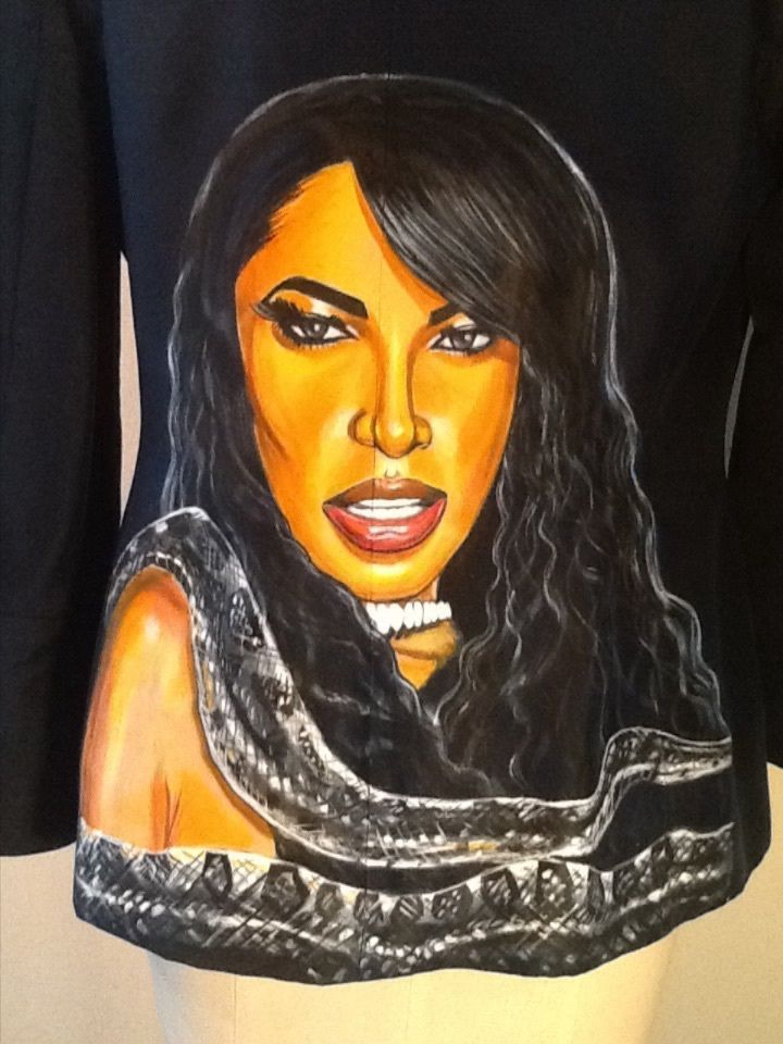Aaliyah shirt Handpainted  and Personalized 100% silk One of a kind  #Kasper #PersonalizedTee