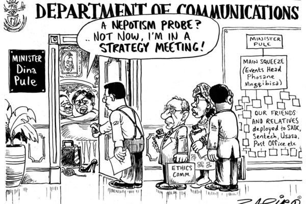 Zapiro: Minister Pule's main squeeze - If my office is rocking, don't bother knocking.
