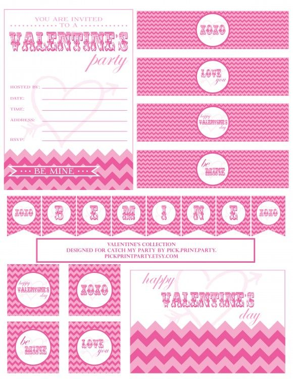 """FREE Valentine's Day Party Printables...The collection includes: an invitation, party tags, a """"Be Mine"""" banner, water bottle labels, and a Valentine's Day card. Love this!"""