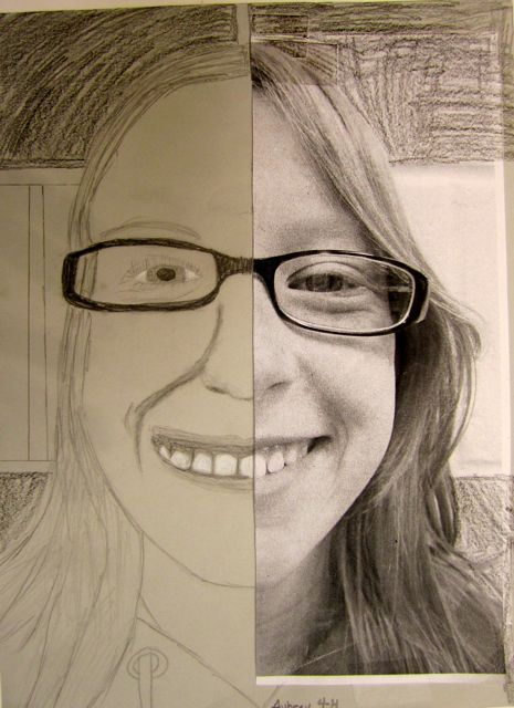 Portraits...may teach students to really look to make their face symmetrical