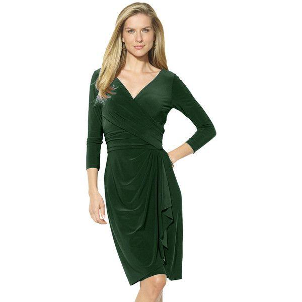 Petite Chaps Jersey Faux-Wrap Sheath Dress ($75) ❤ liked on Polyvore featuring dresses, green, petite, green dress, ruched dress, petite dresses, green jersey and petite sheath dress