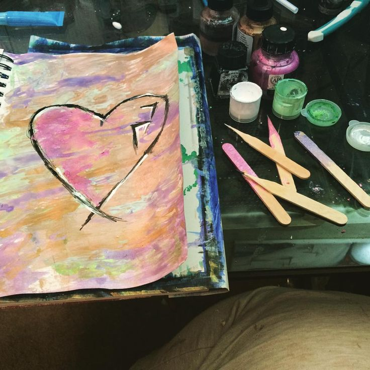 A little art I make with popsicle sticks and ink #loveit #art #ink #artist #trying