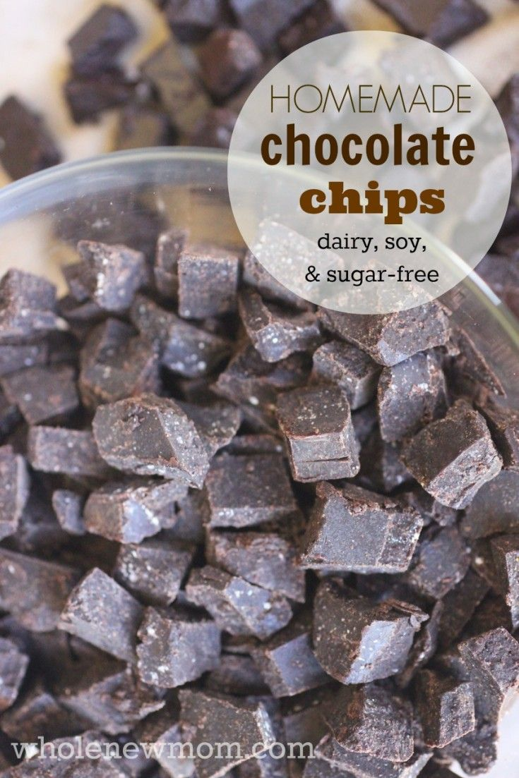 These Homemade Chocolate Chips (or carob chips) are dairy, soy, and sugar-free and great for baking, trail mixes, or eating right out of the bag!