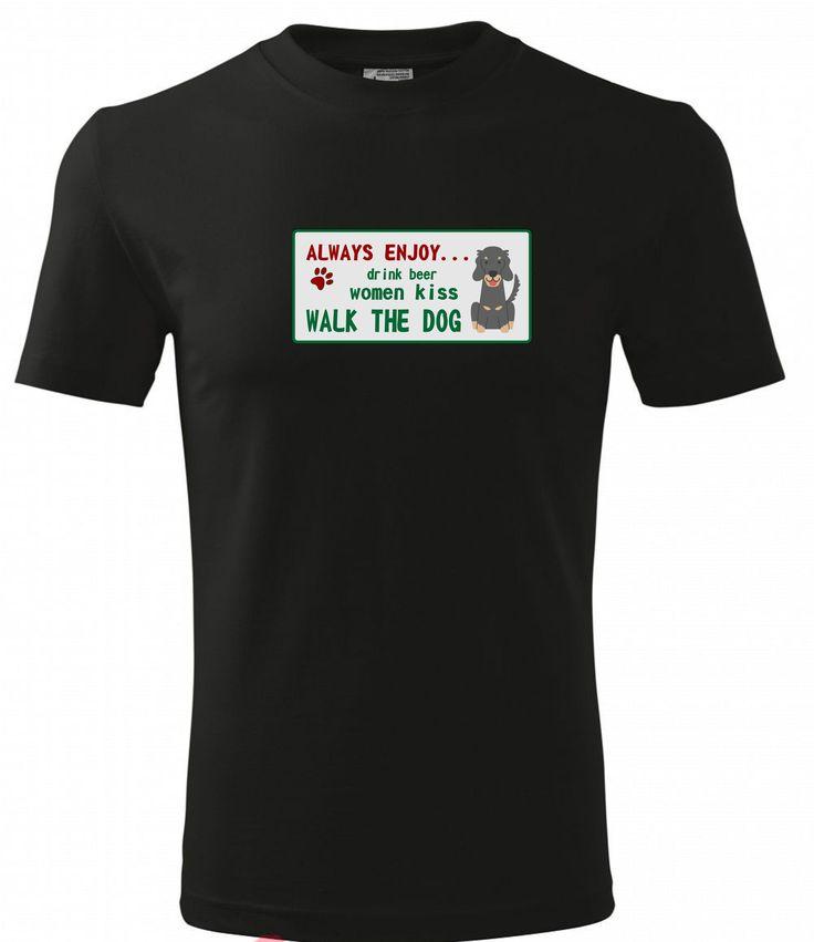 Pánské tričko ve slevě! Z původních 288 Kč ho nyní koupíte za pouhých 150 Kč.  Tričko speciálně pro pány. Ale jste- li žena, která se Vždy těší na pití piva, polibek ženy a procházku se psem, tak je toto tričko samozřejmě i pro vás :). 150 Kč