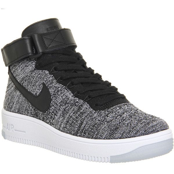 Nike Air Force 1 Mid Flyknit ($215) ❤ liked on Polyvore featuring shoes, sneakers, nike, trainers, black white w, hers trainers, flyknit trainer, nike trainers, black white shoes and nike sneakers