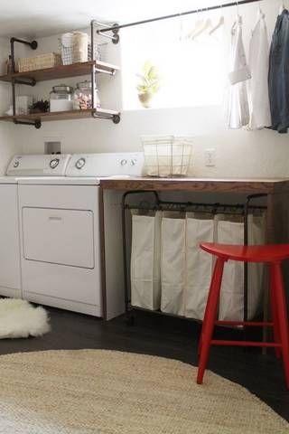 perfect basement idea love the rack for drying clothes out of the way - Unfinished Basement Design