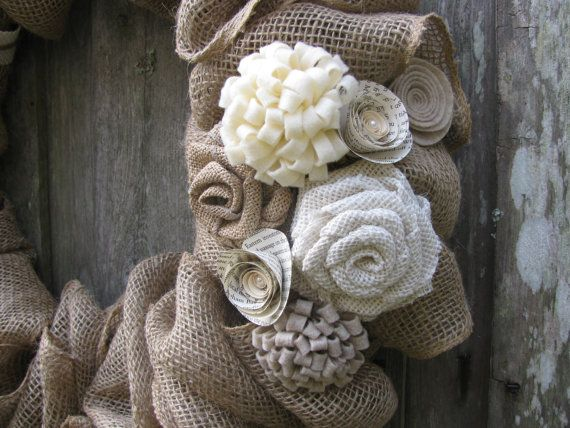 Winter White Rosettes & Burlap Wreath 22 by TheRuffledPage