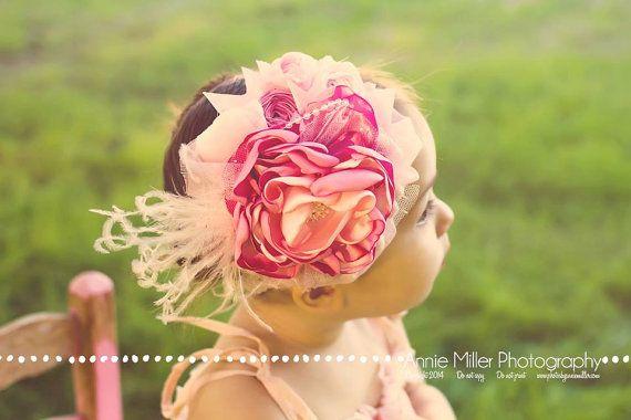 Baby Headband Pink Baby Girl Headband di AvryCoutureCreations