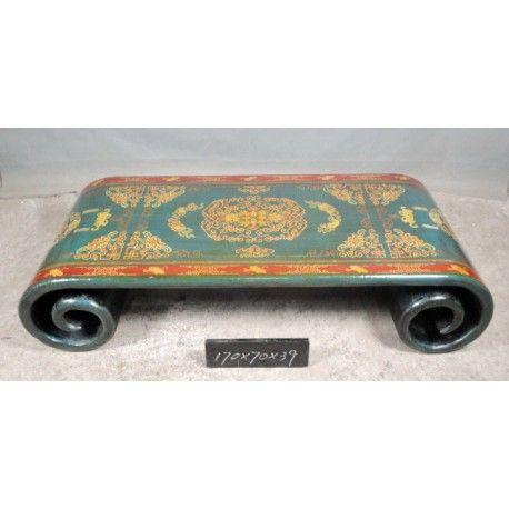 Table basse tibétaine à rouleau. Dim : L170 x P70 x H40 cm. Origine : TIBET. Frais ecotax inclus. Sur mesure, nous contacter. Rêve d'Asie. Suisse.