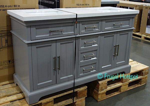 Costco Mission Hills 60 Double Sink Vanity W Quartz Top 799 99 Double Sink Bathroom Vanity Double Sink Vanity Double Sink