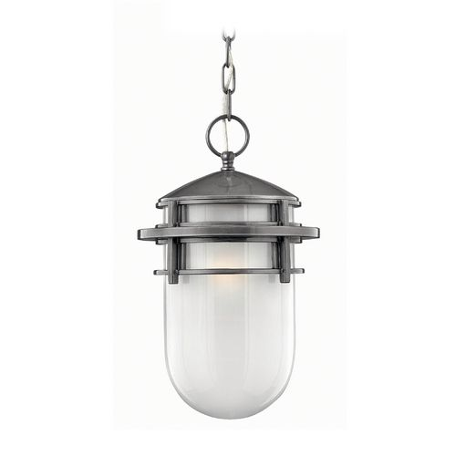 Hinkley Lighting Modern Outdoor Hanging Light with White Glass in Hematite Finish | 1952HE | Destination Lighting