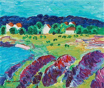 "INGE SCHIÖLER, ""Skärgårdshus i sommarsol"" (Summer House in Sunshine)."