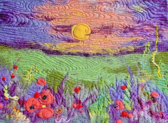 Beautiful sunset in a flower meadow! This picture will look great in any interior - nice landscape!    This is an original 3d needle felted painting