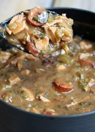 Authentic New Orlean's Style Gumbo ~ This gumbo is made with rice, kielbasa, chicken, celery, onions, garlic and the creamiest roux. You're going to cook it from scratch, but nothing so difficult in this recipe.