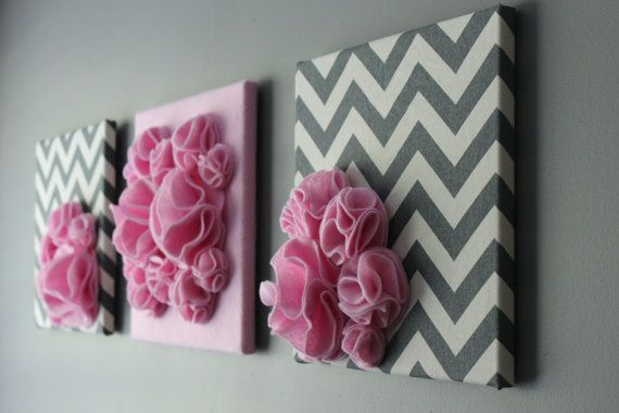 "Three Wall Art Canvases, Pink and Gray Chevron Nursery Wall Art, 3D Wall Decor, Felt 12x12"" Wall Hangings"