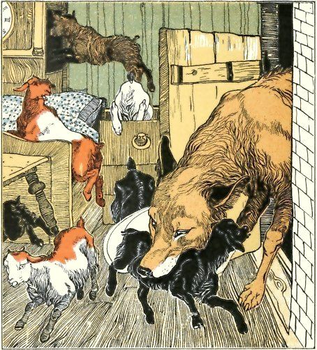 The Wolf and the Seven Young Kids    is a German fairy tale collected by the Brothers Grimm