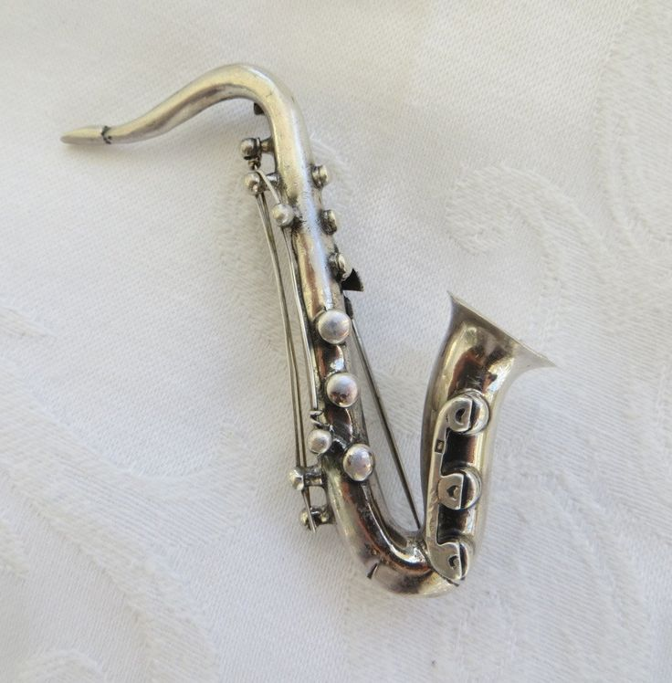 Vintage Sterling Saxophone Brooch, Highly Detailed Saxophone Pin, Musical Instrument Jewelry