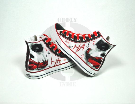 The Joker Black to Red Adult / Youth Hand Painted High Tops