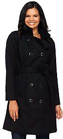 As Is Isaac Mizrahi Live! Doulbe Breasted Peacoat with Belt