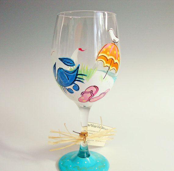Hand Painted Wine Glass, Beach Scene w/ Blue Crab, Flip Flops, Umbrella, and Sailboat