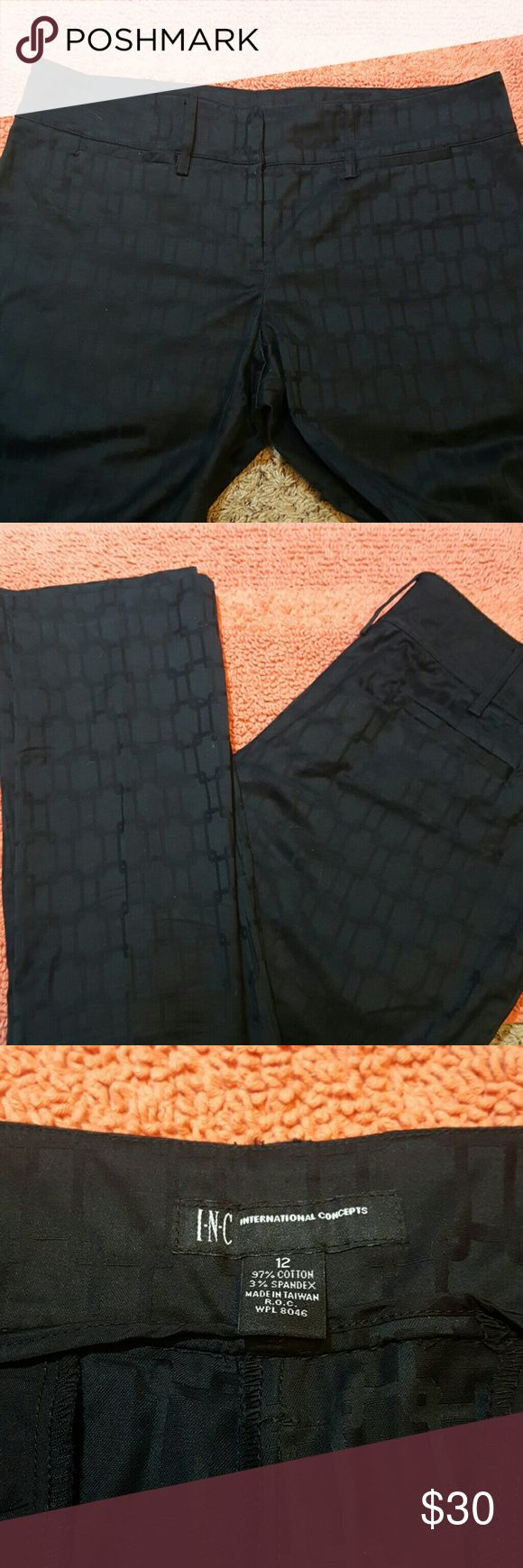 """$15 SALE ❤INC Black Dress Pants Beautiful dress pants. Has an embossed look design within the fabric. Small pockets in front. Flat pockets on rear. Straight leg, tailored look.  97% Cotton  3%Spandex  J1A  Unstretched Flat Measurements  Waist 17.5"""" Rise 9"""" Inseam 31"""" INC International Concepts Pants Straight Leg"""