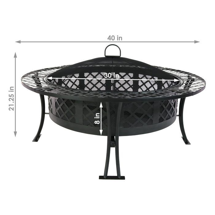 Diamond Weave Large Patio Fire Pit With Spark Screen 40 Inch Diameter By Sunnydaze Decor Stainless Steel Fire Pit Fire Pit Large Fire Pit