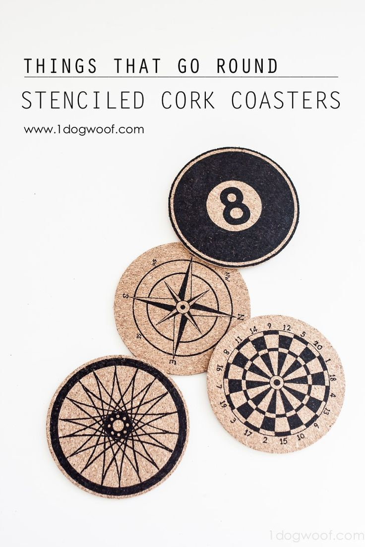These stenciled cork coasters look awesome!  There's free Silhouette cut files too!  | www.1dogwoof.com