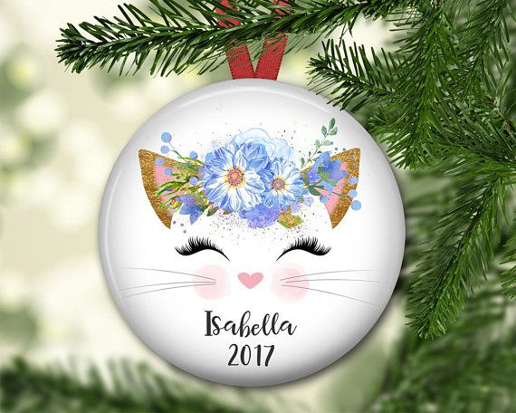 personalized kitty ornament for kids and babies first Christmas