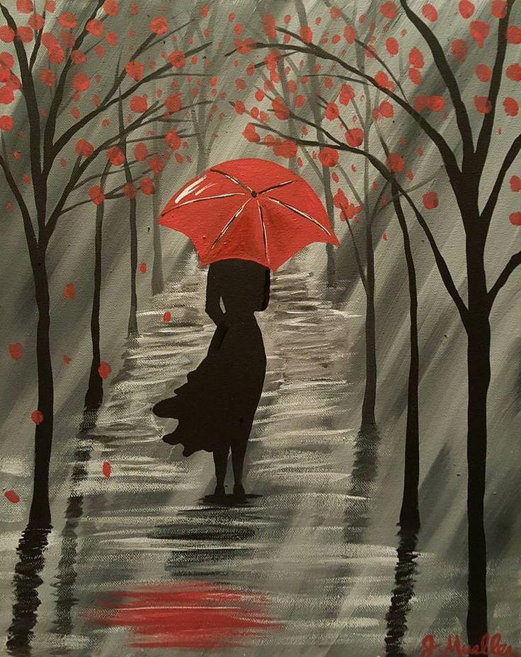 Картинки осень дождь листья девушка с красным зонтом