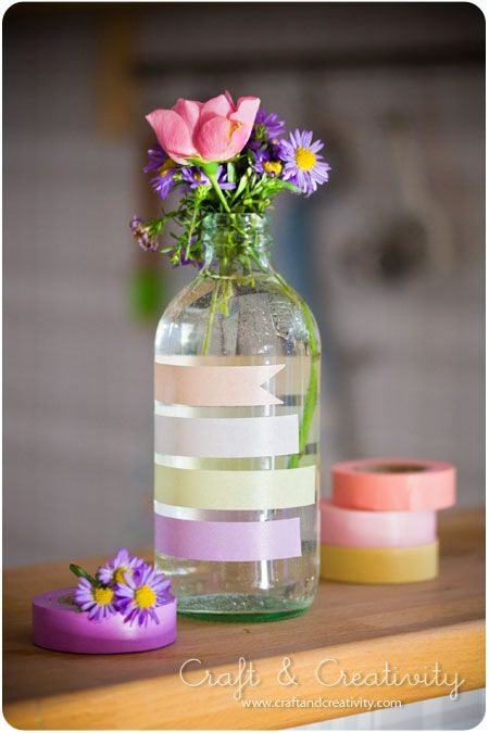 Flower Vases with Washi Tape / Floreros
