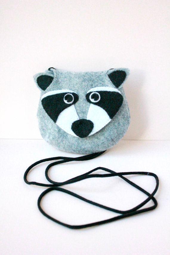 RACCOON felt purse girl and toddler handbag by DesignedbyRonela