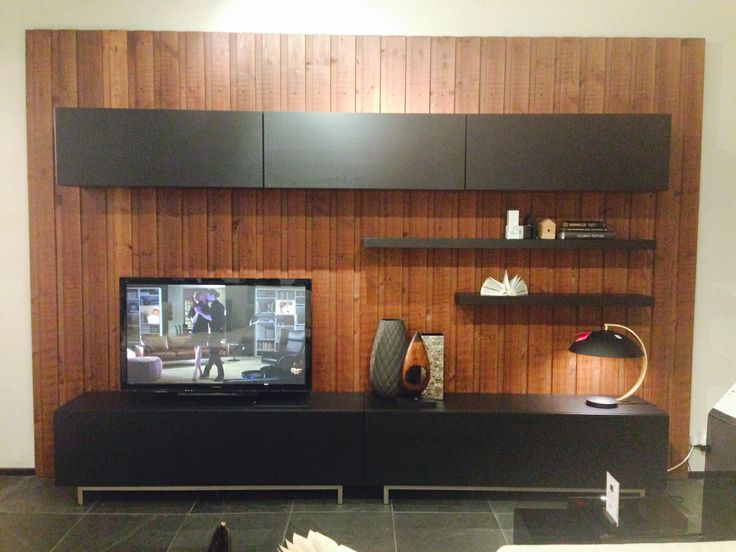 Incorporate a wood panel wall to add interest to your space. Layer with our customisable Volani Wall System for a functional, yet modern media unit. #modern #Volani #customisable #mediaunit  #boconcept