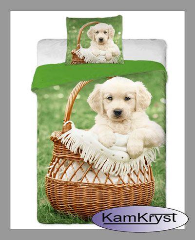 Dziecięca pościel bawełniana - piesek w koszyku 140x200 cm dostępna w sklepie KamKryst