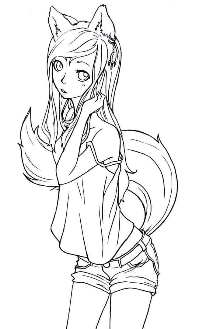 Anime Fox Girl Coloring Pages In 2020 Fox Coloring Page Chibi Coloring Pages Animal Coloring Pages