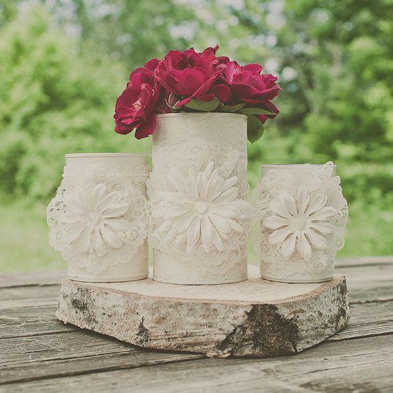 3 painted tin can. Wedding centerpiece. Wedding vases. Decoration tin cans.Barn wedding. Tin can vase.