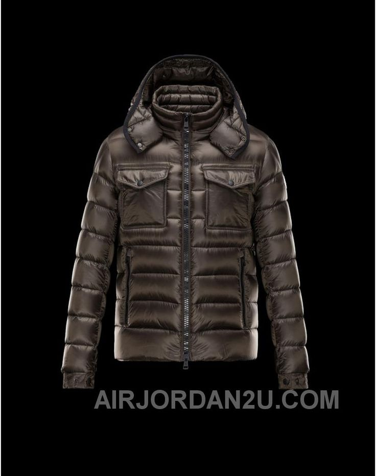 2014 Moncler Mens Down Jackets Light Brown Zipper Hooded Pocket Stand Collar