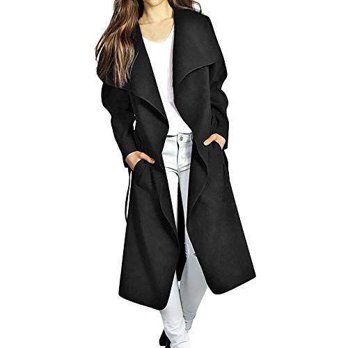 658a95204ff HOSOME Women Wool Coat Winter Coat Wide Lapel Belt Pocket Blend Long  Outwear Tops Best Halloween Costumes & Dresses USA