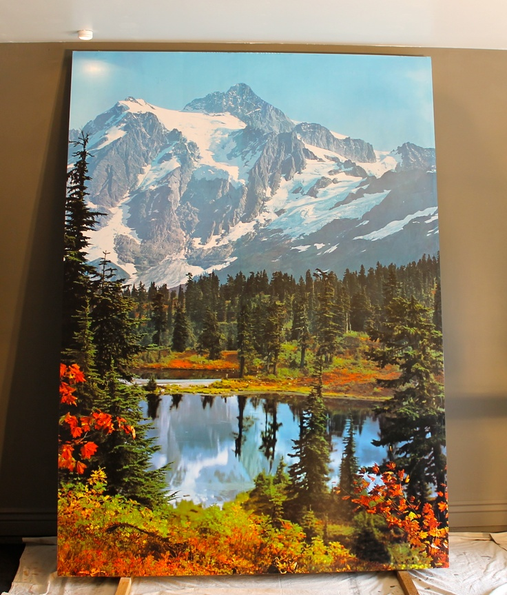 """Mountain Mural Wallpaper panel via """"swanky couch"""""""