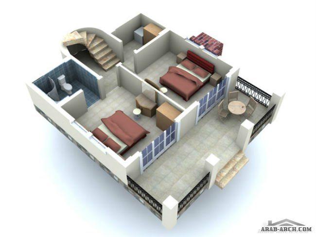 تصميم فيلا 3 طوابق مساحه الطابق 50 متر مربع Floor Plans Architecture Home