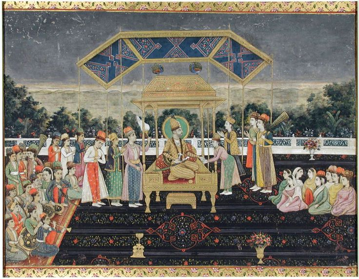 Nadir Shah on the peacock throne after his defeat of Muhammad Shah