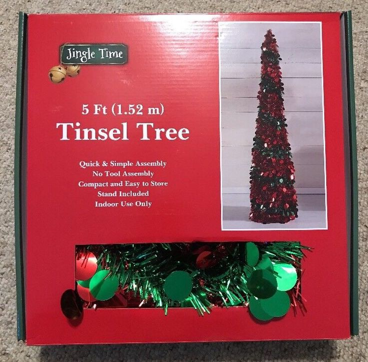 5 Foot Pop Up Christmas Tree Red Amp Green Tinsel