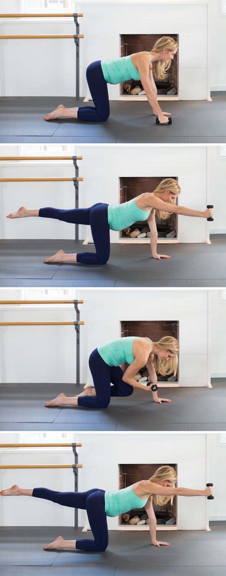 Tabletop with Reach and Pull (prenatal barre exercises)
