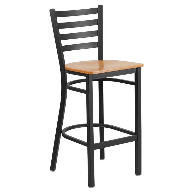 Flash Furniture Hercules 29 in. Metal and Wood Ladder Back Restaurant Bar Stool - XU-DG697BLAD-BAR-NATW-GG