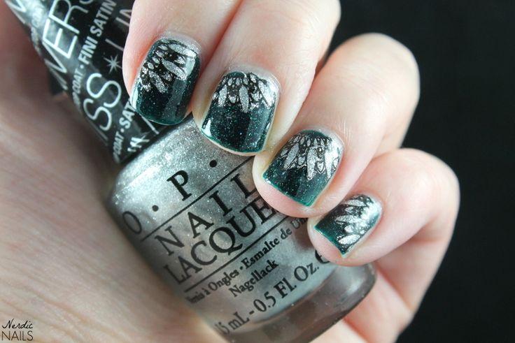 Nerdic Nails. Silver green reverse stamping.