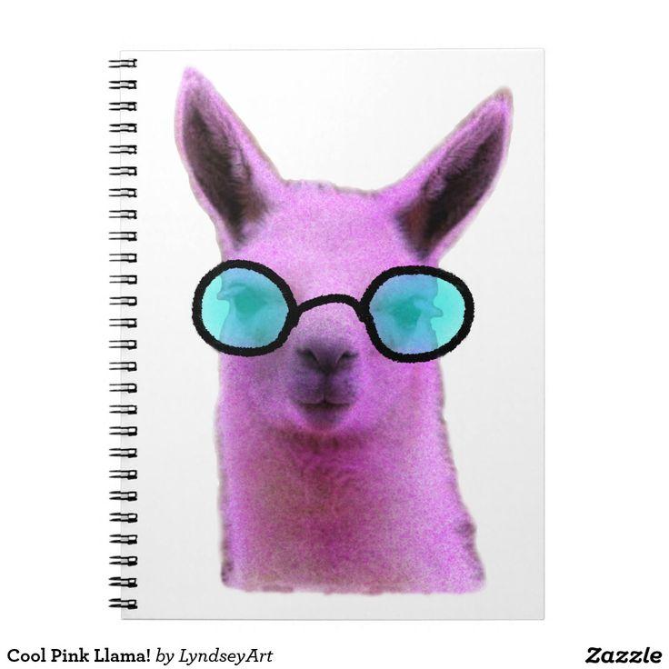 Cool Pink Llama! Note Books $22.85 Too cute! #llama #llamas #pink #cute #lyndseyart