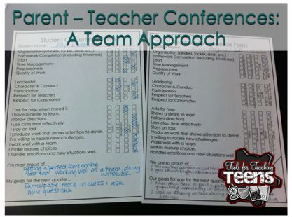 This format for parent - teacher conferences allows the homeroom teacher to represent the entire middle school teaching team, while the student leads the conversation. Download the free student self-evaluation, watch the video, and try this format in your own school!