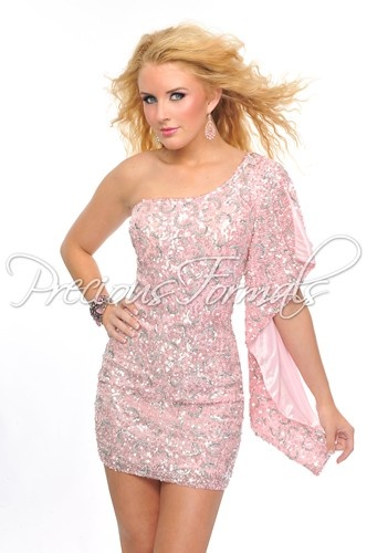 A beautiful short prom dress, covered with sequins, from Precious Formals.